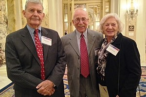 Myron Weiner, WG'51 (with wife Ruth) and Paul Schurr, WG'62, taken at the WGES and Old Guard event in Boston, November 3, 2014