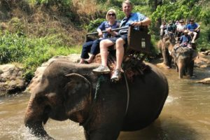 Tom Hadlock, WG'66 and wife Yolande's Elephant Ride in Vietnam 2017